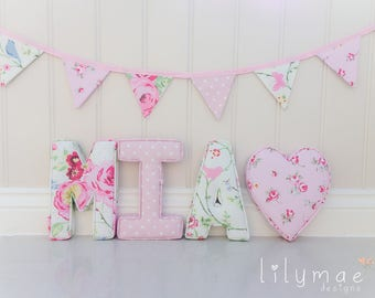Fabric Letters | Handmade | Lilymae Designs | Nursery - Home - Bedroom - Childrens - Gift - Made in England - New Baby - Price Is Per Letter