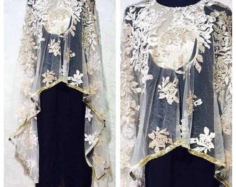 Long Georgette top with attached cape with pearl work