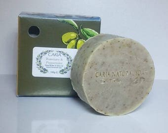 CARIA Rosemary and Peppermint Olive Oil All Natural Shea Cocoa Soap Bar 100g
