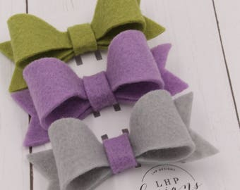 Felt Hair Bow Trio