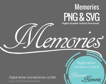 Memories digital cut file and digital stickers  - PNG and SVG digital graphics set
