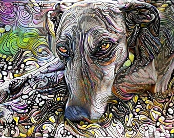 Greyhound Art, Dog Portrait, Greyhound Print, Dog Wall Art, Abstract Decor,  Pet Paintings, Animal Decor