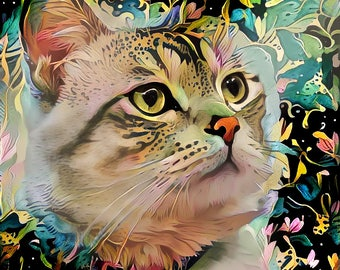 Cat Decor, Colorful Cat Art, Cat Portrait, Abstract Cat Print, Pet Gift, Gift for Cat Lady, Peggy Collins Photo Art