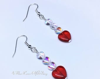 Pretty Heart Earrings made with Czech Pressed Glass Hearts and Nickel free silver plated stainless steel Ear Wires