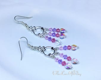 Beautiful & delicate small chandelier earrings made with Swarovski Crystals and Czech Crystal Hearts