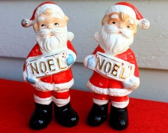 Vintage Relco Ceramic Noel Santa Salt & Pepper Shakers Figurines Japan Christmas Kitchen Decorations Collectibles 50's Era Mid Century