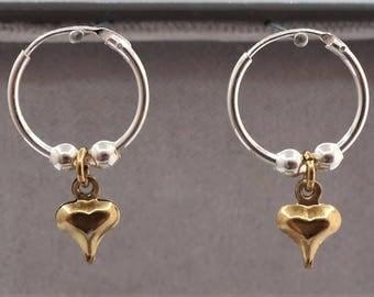 Sterling Silver Sleeper Hoop Earrings with Heart Charm & Silver Beads.
