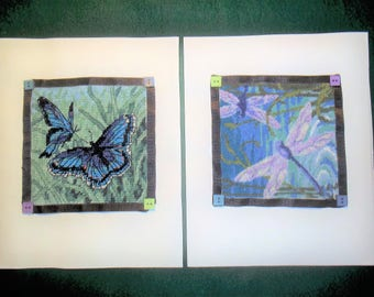 Two Needlepoints - Butterflies - Dragonflies - Small - Finished