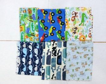 Boys Cotton Flannel Fabric Scraps/ Boys Cotton Flannel Fabric Remnants (#01)