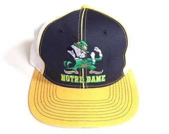 Vintage Notre Dame Fighting Irish starter pinwheel snapback twill the classic navy blue yellow 90s unisex one size fits all adjustable hat