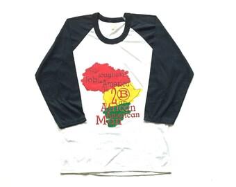 Afrocentric Black Pride Raglan ringer African american Baseball 80s long sleeve shirt, Paper Thin 50 50 blend , The Hardest Job In America