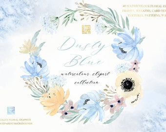 Dusty blue gold watercolour flowers clipart, hand drawn: Wreaths. Soft blue, grey and cream colors. Peonies, anemones.