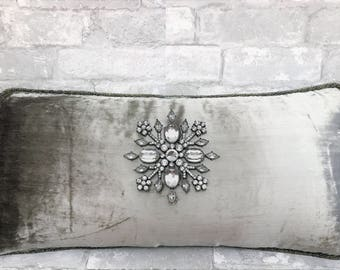 silver pillow, grey velvet pillow,holiday pillow,embellished pillow,snowflake pillow,christmas pillow,christmas tree pillow,jeweled pillow