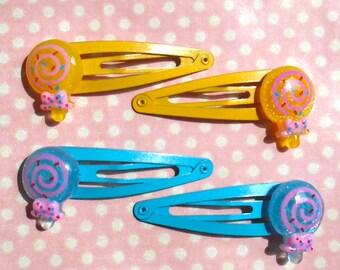 Cute glittery lollipop hair clips