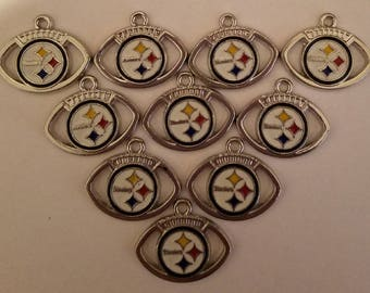 Pittsburgh Steelers Football Charms Set of 10