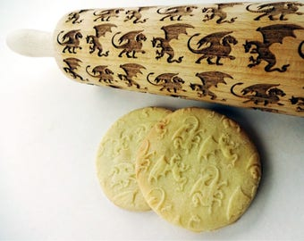 DRAGONS Embossing Rolling pin. Engraved rolling pin Dragons. Wooden laser engraved rolling pin with dragons pattern