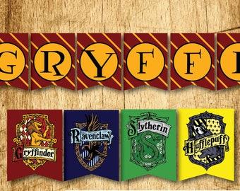 "Harry Potter Printable Hogwarts House Bunting Banners  |  Gryffindor, Slytherin, Hufflepuff & Ravenclaw  |  Digital Download  |  8.5x11"""