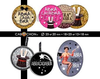 Abracadabra - 60 Images Digitales RONDES 25 et 20 mm OVALES 18x25 et 13x18 mm lapin magie magicien chapeau rabbit oreilles baguette magique