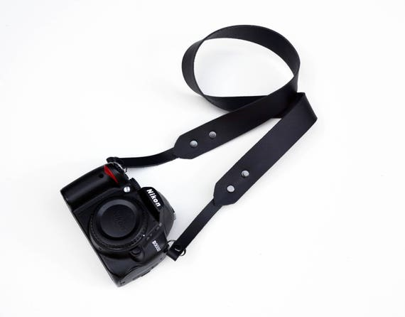 Horween leather camera strap / adjustable camera strap / Black on black