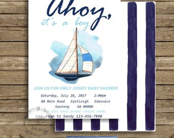 Ahoy its a boy invitation, Nautical baby shower, Ahoy it's a boy baby shower invitation, Boat baby shower, Nautical Invite, Editable