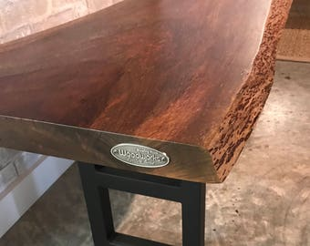 Live edge table exotic Guatemalan Tigerwood top with Steel tube Base