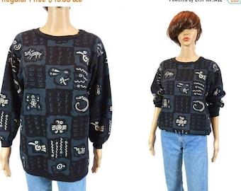 tempSALE Vintage 80s Graphic Sweatshirt, Aboriginal Art, Indigenous Tribal Long Black Top Unisex Clothing Hip Hop Fresh Prince Geometric Jum