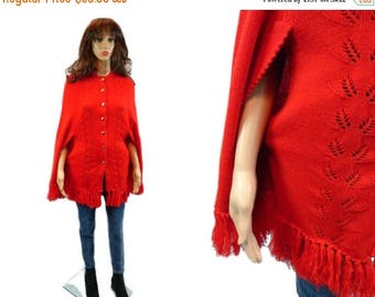 tempSALE Vintage Fringe Cape/  1960's Retro Poncho/ Red Acrylic 60's Jacket/ Vtg Sweater Coat/ Woven Overcoat