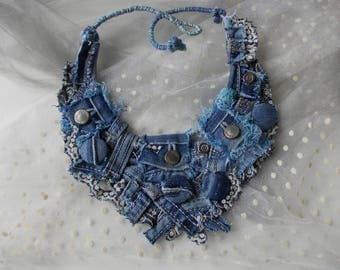 Jeans time... Recycled jeans necklace, eco-friendly textile jewelry, hand wrapped tribal chanky denim fiber necklace, rocker bib necklace.