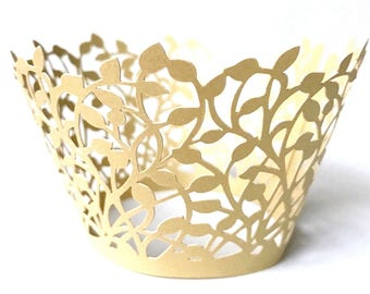 50 Elegant Gold Laser Cut Cupcake Wrappers  Wedding Lace Decor