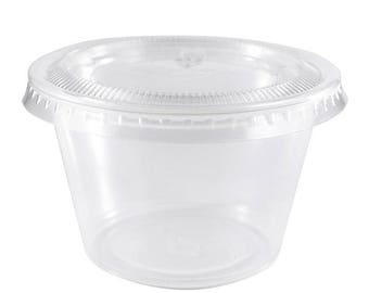 350 ct. 1 oz Plastic Souffle Jello Shot Portion Cups with Lids