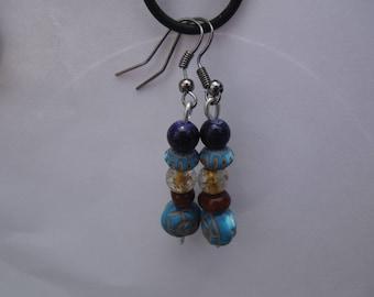 Blue earrings, beaded earrings, tropical earrings, Moana earrings,