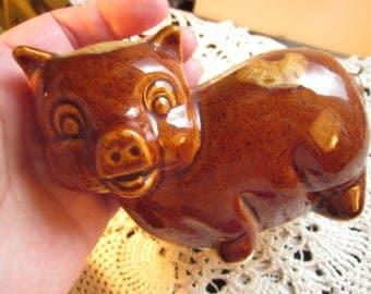 Vintage Piggy Bank McCoy Drip Pottery Coin Pig