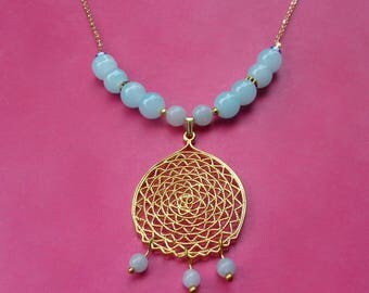 Necklace chain thin brass plated beads, blue jade, amazonite beads and gold pendant