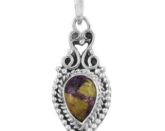 Tasmanian Stichtite Pear Cabochon 14x10mm Sterling Silver Pendant without Chain TGW 2.20 cts.