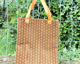 BAG / TOTE BAG. LEATHER HANDLES. UPCYCLING HANDMADE
