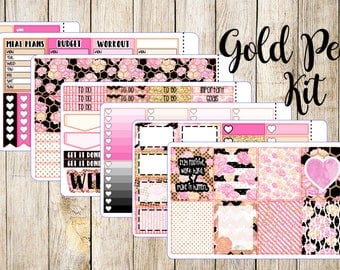 Pretty Gold Peonies Weekly Planner Kit - Planner Stickers for the ECLP, Happy Planner, and more!