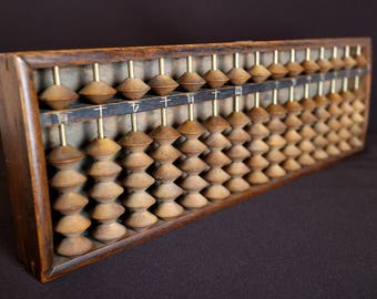 Antique soroban solid wooden abacus mid century home living decor counting frame Japanese vintage Japanese abacus Japanese soroban