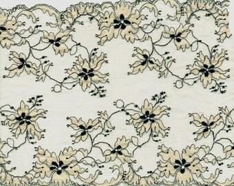 LACE of CALAIS Ecru floral Calais Flowery lace 17 cm