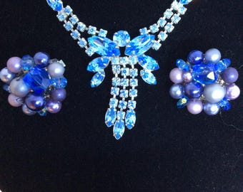 Vintage Blue Rhinestone Necklace Blue Crystal Pearl Bead Cluster Earrings Clip On Japan Wedding Formal Prom