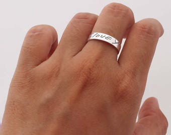 Actual Signature Ring - Your Actual Handwriting Ring - Band Ring - Personalized Jewelry - Couple Ring - Wedding Ring Sets