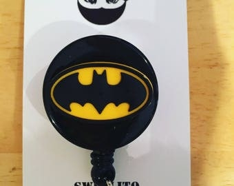 Batman® DC comics ~ Retractable ID Badge Holder ~ Brick© Minifigure ~ Slide Belt Clip ~ Alligator Clip ~ Gifts for Nurses Doctors Teachers
