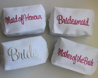 4 PACK Embroidered make up bags - Perfect gift for the Wedding Party.