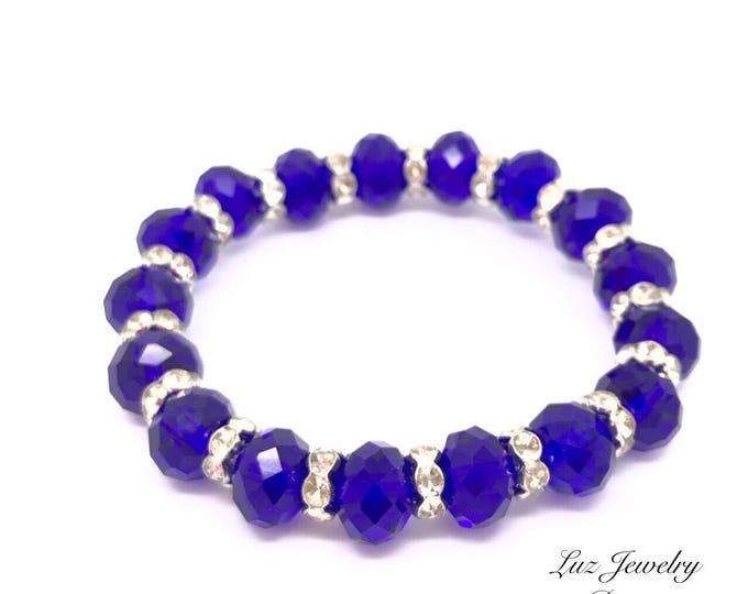Blue crystal bracelet, blue bridal bracelet, dark blue bracelet, indigo blue bracelet, blue crystal jewelry, dark bridal jewelry