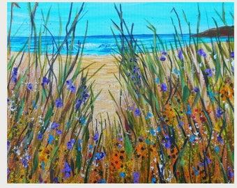 Fine Art Print Wall Art, Ocean Beach Flowers, Modern Impressionism, Beach House Art, Living Room Wall Art, beach art