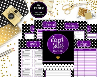 Direct Sales Planner, MLM Consultant, Direct Sales, Network Marketing, Purple, Younique Inspired, Young Living Inspired, Planner