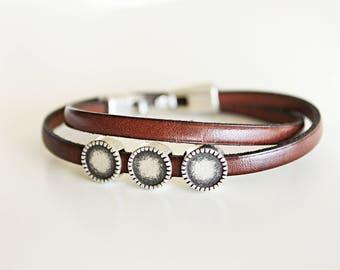 Double wrap LEATHER BRACELET, Men bracelet, gift for boyfriend, men jewelry, brown leather, bracelet beaded. Boyfriend gift, gift for men