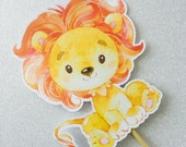 Lion Baby Cake Topper   Lion Baby Shower Decoration, Lion Topper for Party   Cake Topper Birthday Girl Cake, Baby Shower Food Ideas - Decor
