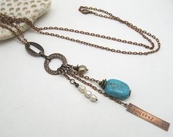 long turquoise boho necklace, long copper necklace, boho necklace, womens turquoise, long pearl necklace, necklace turquoise