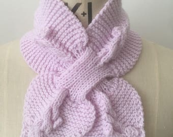 Lilac Retro Knitted Collar Ascot Scarf