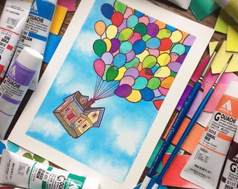 UP House Adventure is Out There Watercolor Print by Michelle Coffee